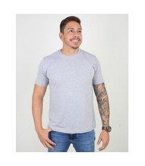 camiseta basica masculina gola redonda lucas lunny algodáo cinza .