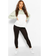 colour block sweater en leggings set, salie