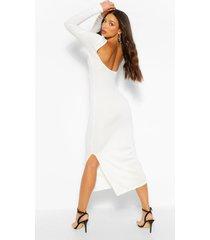 tall geribbelde midaxi jurk met diepe ronde hals en laag uitgesneden rug, wit