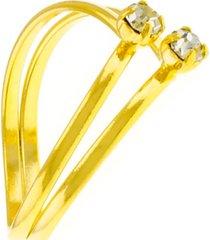 anel horus import dois fios v banhado ouro 18 k dourado
