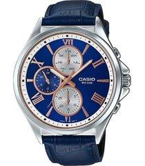 reloj analógico hombre casio mtp-e316l2a2 cronógrafo - azul