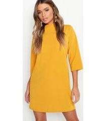 high neck 3/4 sleeve shift dress, mustard