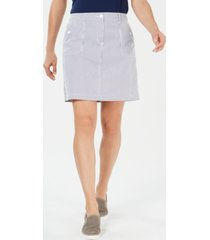 karen scott petite corded striped skort, created for macy's