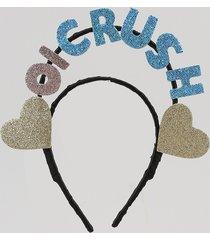 "tiara feminina carnaval ""oi crush"" com glitter azul"