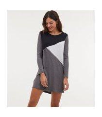 camisola manga longa com listras diagonais | lov | cinza | gg