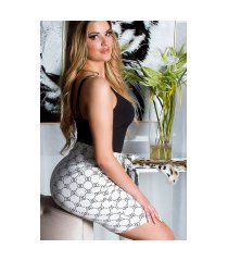 sexy hoge taille rok met print wit