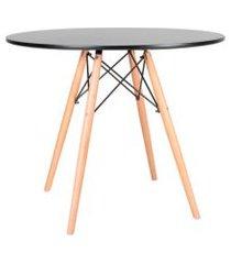 mesa de cozinha redonda well preta 90 cm