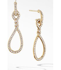 women's david yurman continuance full pave small drop earrings in 18k yellow gold