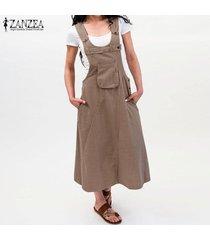 zanzea botones sin mangas para mujer correas vestido casual vestidos sueltos de kaftan tallas grandes -caqui