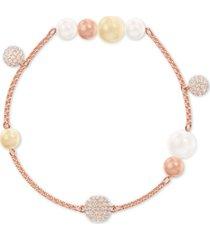 swarovski remix pave fireball & imitation pearl magnetic link bracelet