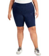 ideology plus size star-print bicycle shorts, created for macy's