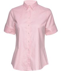 stretch oxford solid ss shirt overhemd met korte mouwen roze gant