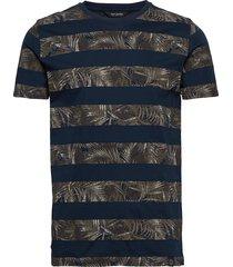 stripe leaf print tee s/s t-shirts short-sleeved multi/mönstrad shine original
