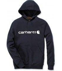 carhartt trui men delmont graphic hooded sweatshirt navy heather-s