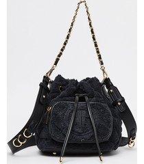 river island womens black towelling duffle bag