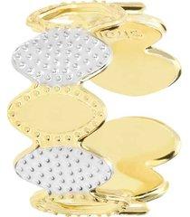 anello regolabile in bronzo dorato con cerchi per donna