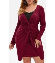 plus size lace insert twisted ruched long sleeve dress