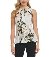 dkny petite floral-print pleated sleeveless top
