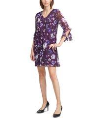 calvin klein floral-print bell-sleeve shift dress