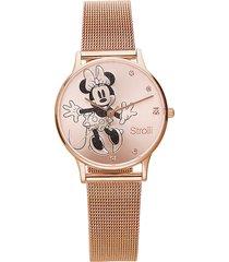 orologio solo tempo con cinturino maglia milanese e cassa in acciaio rosato, quadrante con minni con glitter e strass per donna