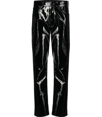 david koma patent leather loose trousers - black
