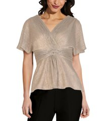 adrianna papell v-neck knotted metallic top