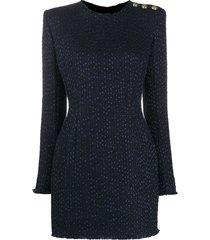 balmain bouclé tweed mini dress - blue