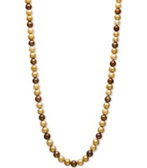 "dyed multi chocolate cultured freshwater pearl (7-1/2mm) 34"" strand necklace"