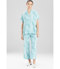 misty leopard challis pajamas / sleepwear / loungewear, women's, plus size, blue, size 1x, n natori