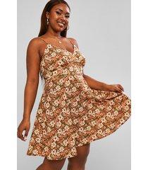 plus size retro flower print knot back dress