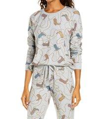 women's pj salvage boot print pajama top, size x-large - grey