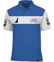 camisa polo fórmula retrô ligier gitanes js11 1979 - azul