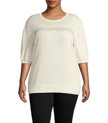 plus front-lace cotton-blend sweater