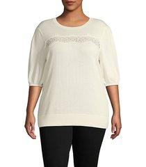 plus front-lace cotton-blend sweater