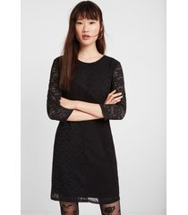 fitted 3/4 sleeve dress - black - 46