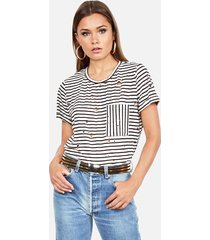 ronin pocket tee - l creme stripe