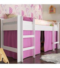 cama elevada com escada e espaã§o para brincar rosa lilies - branco/multicolorido/rosa - dafiti