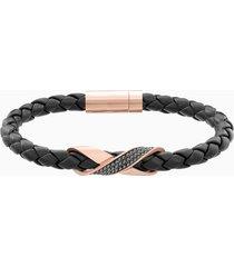 braccialetto cross signature, pelle, nero, placcato oro rosa