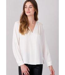 blouse met v-hals van zijde