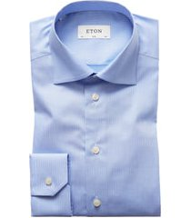 men's eton slim fit houndstooth dress shirt, size 15.5 - blue