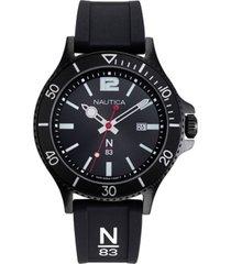 nautica n83 men's napabs908 accra beach black silicone strap watch