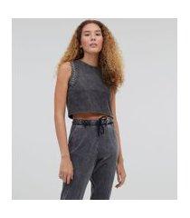 blusa regata cropped em algodão marmorizado com tachas nas cavas | blue steel | preto | gg