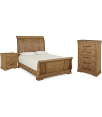 trisha yearwood coming home sleigh bedroom collection 3-pc. set (king bed, nightstand & chest)