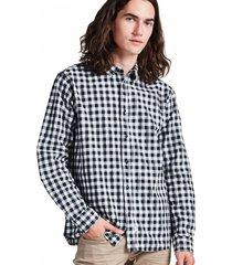 camisa cuadros abotonada manga larga negro sioux
