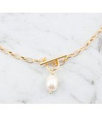 łańcuszek grube ogniwa z perłą złoty
