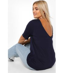 plus basic v back oversized t-shirt, navy