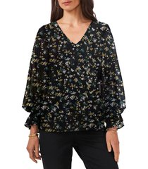 chaus floral balloon sleeve top, size medium in rich black at nordstrom
