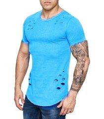 camiseta corta de los hombres de moda agujero diseño de fitness-azul