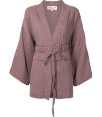 0711 short tied-waist kimono blouse - red