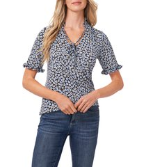 cece floral frill sleeve stretch crepe top, size small in blue/rich black at nordstrom